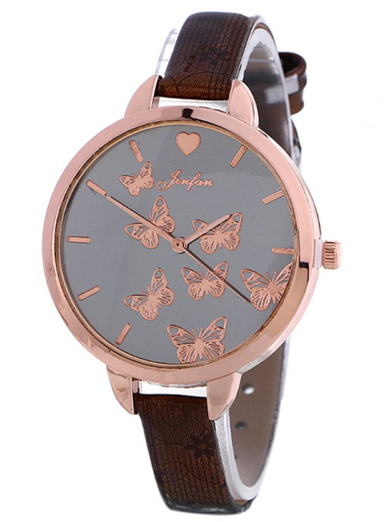 Faux Leather Butterfly Quartz Watch - BROWN  Mobile