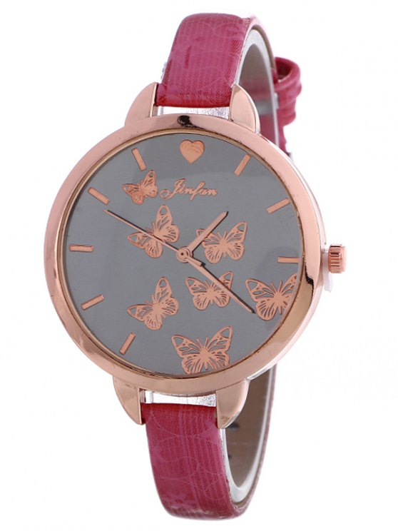 Faux Leather Butterfly Quartz Watch - TUTTI FRUTTI  Mobile