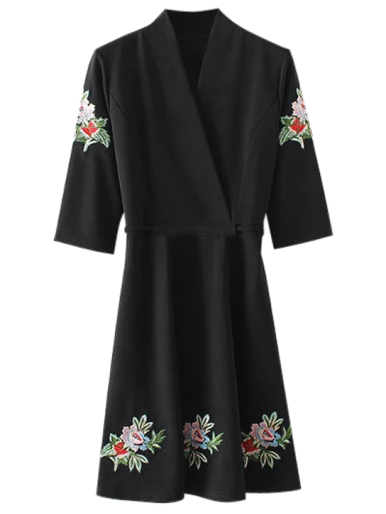 womens Back Tied Floral Embroidered Surplice Dress - BLACK L