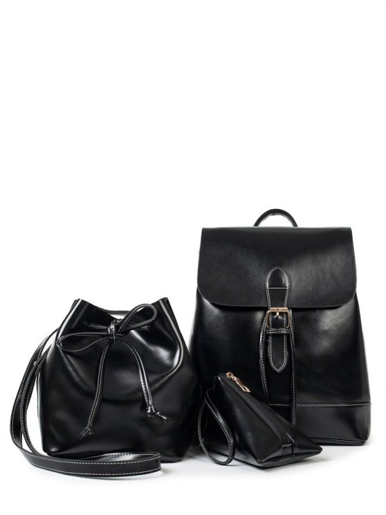 Buckle Strap Faux Leather Backpack Set - BLACK  Mobile