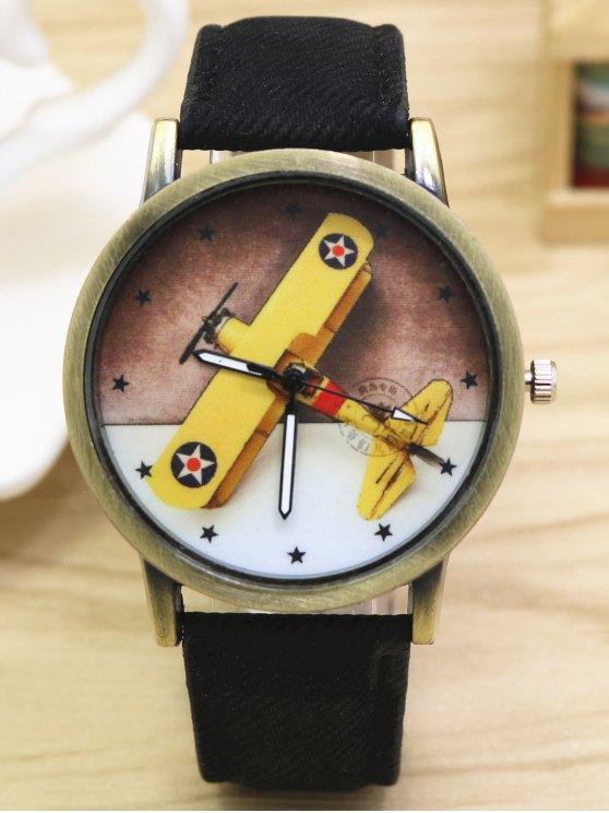 Cartoon Airplane Quartz Watch - BLACK  Mobile
