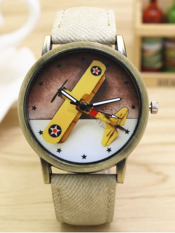 Cartoon Airplane Quartz Watch - WHITE  Mobile