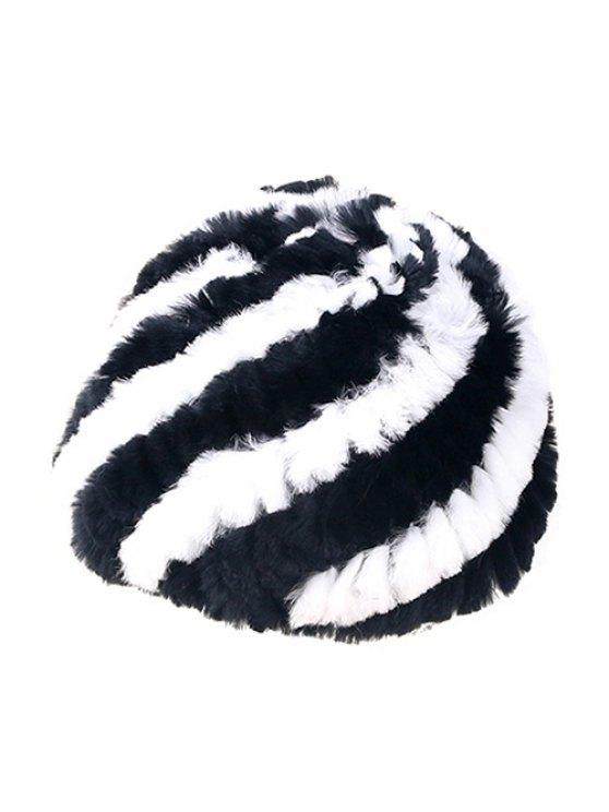 Wrasse Rabbit Hair Striped Hat - BLACK  Mobile