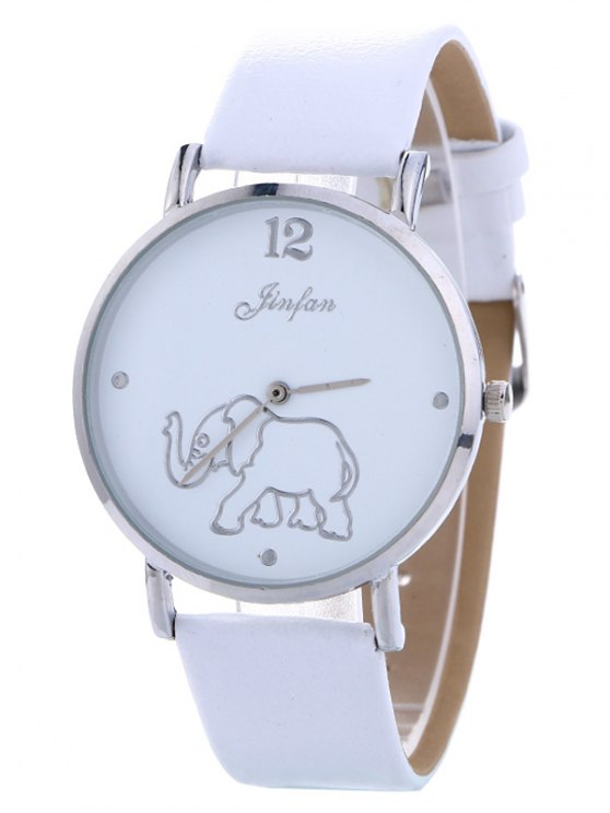 Faux Leather Elephant Quartz Watch - WHITE  Mobile