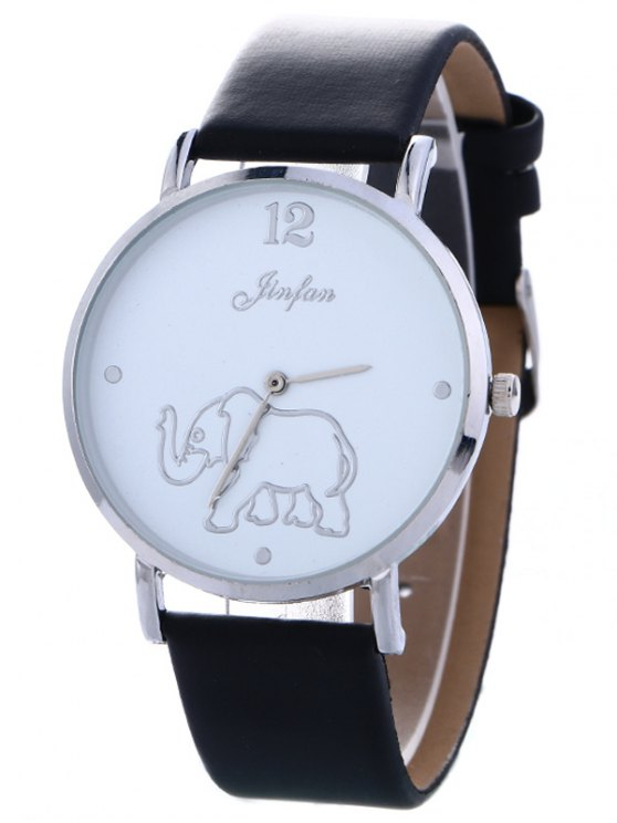 Faux Leather Elephant Quartz Watch - BLACK  Mobile