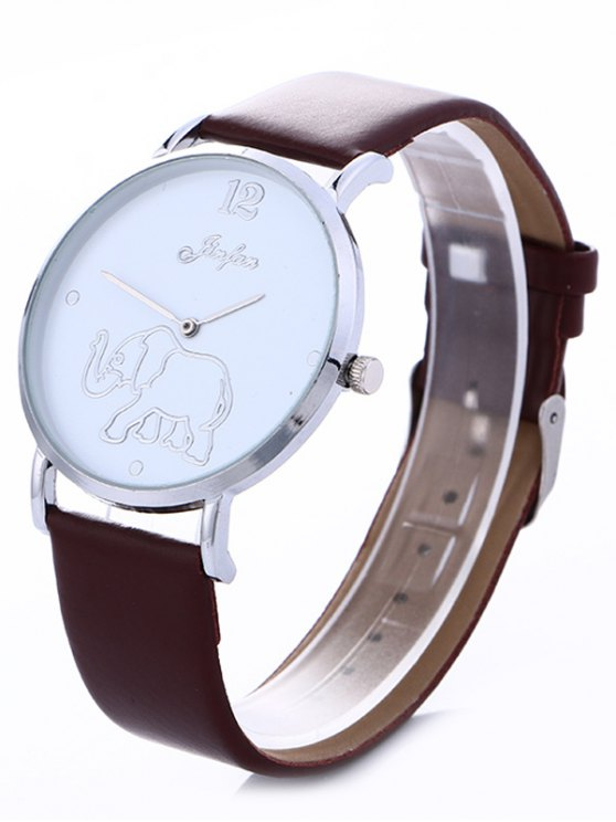 Faux Leather Elephant Quartz Watch - BROWN  Mobile