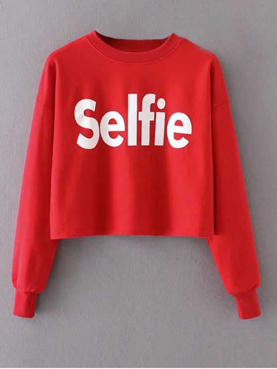 Cropped Selfie Sweatshirt - RED L Mobile
