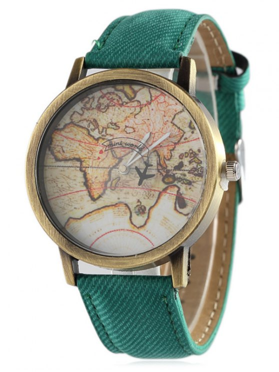 Faux Leather Map Quartz Watch -   Mobile