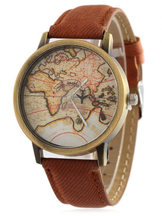 Faux Leather Map Quartz Watch - BROWN  Mobile
