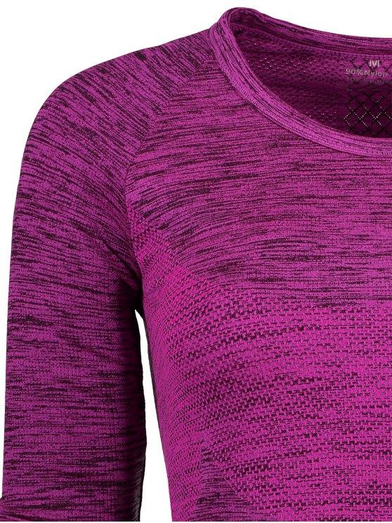 Long Sleeve Space Dye Running Top - PURPLISH RED M Mobile