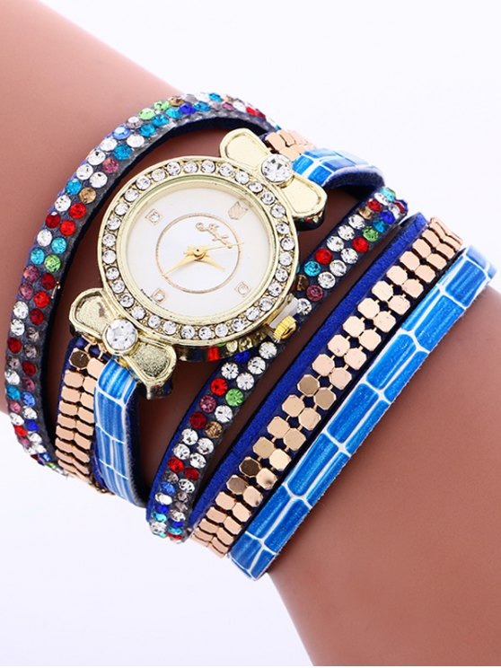 Layered Studded Analog Bracelet Watch - BLUE  Mobile