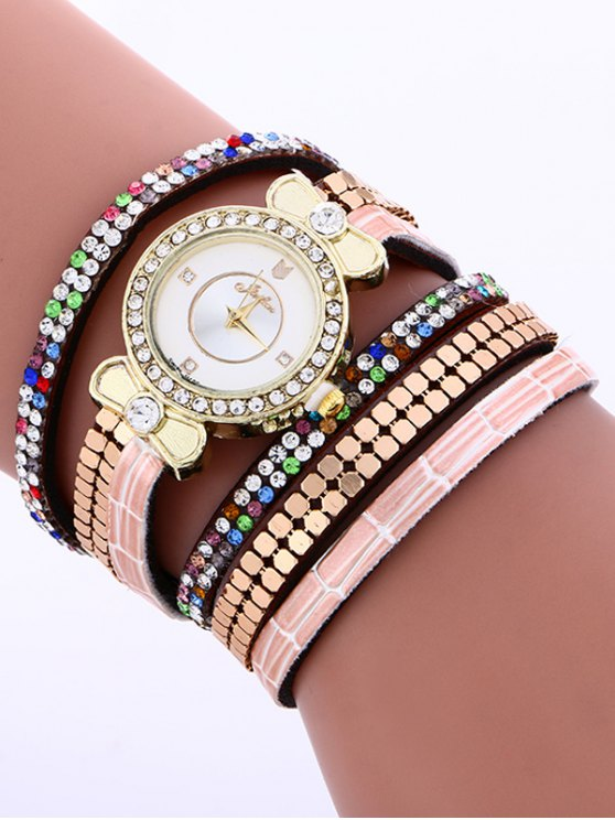 Layered Studded Analog Bracelet Watch - BROWN  Mobile