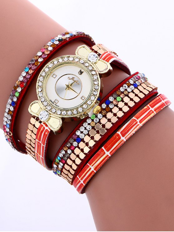 Layered Studded Analog Bracelet Watch - RED  Mobile