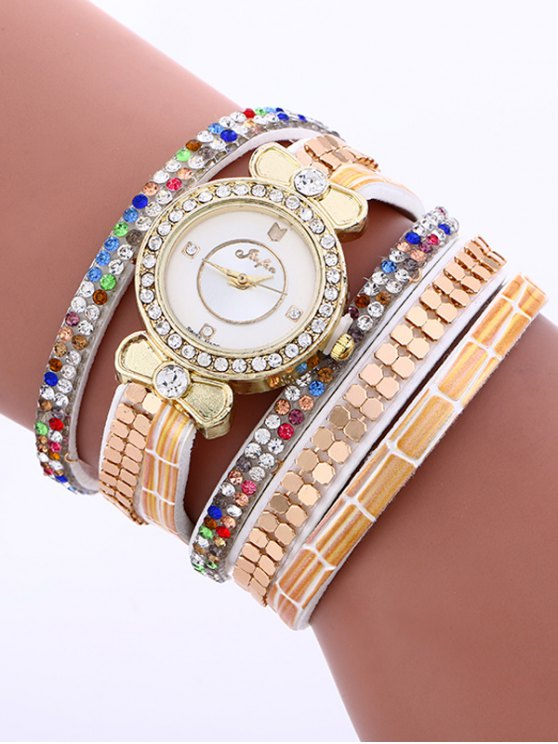 Layered Studded Analog Bracelet Watch - WHITE  Mobile