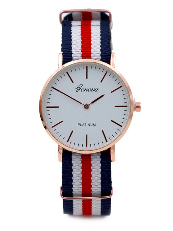 Striped Analog Quartz Watch - WHITE  Mobile