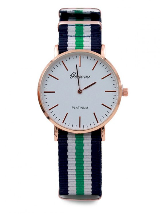 Striped Analog Quartz Watch - GREEN  Mobile