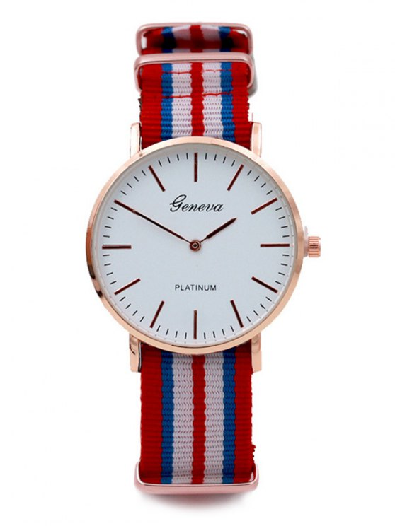 Striped Analog Quartz Watch - RED  Mobile