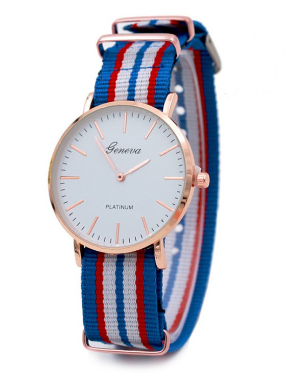 Striped Analog Quartz Watch - AZURE  Mobile