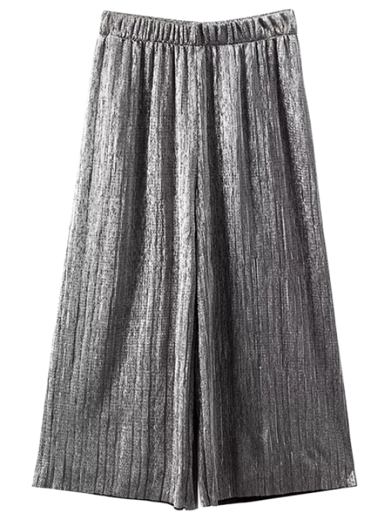 affordable Pleated Glitter Culotte Capri Pants - SILVER S