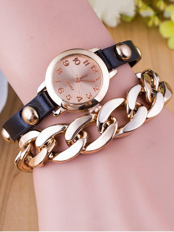 Chain Quartz Bracelet Watch - BLACK  Mobile