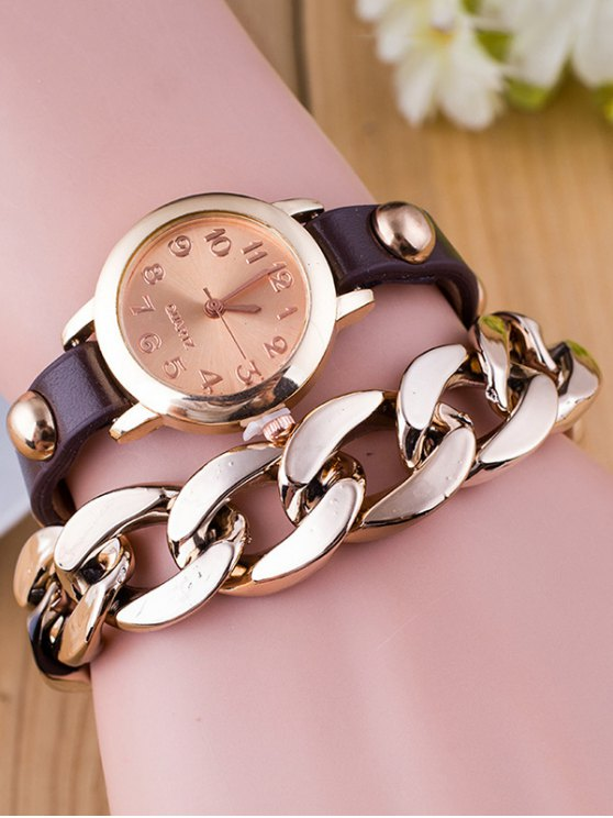 Chain Quartz Bracelet Watch - COFFEE  Mobile