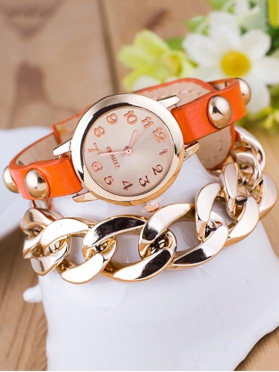 Chain Quartz Bracelet Watch - ORANGE  Mobile