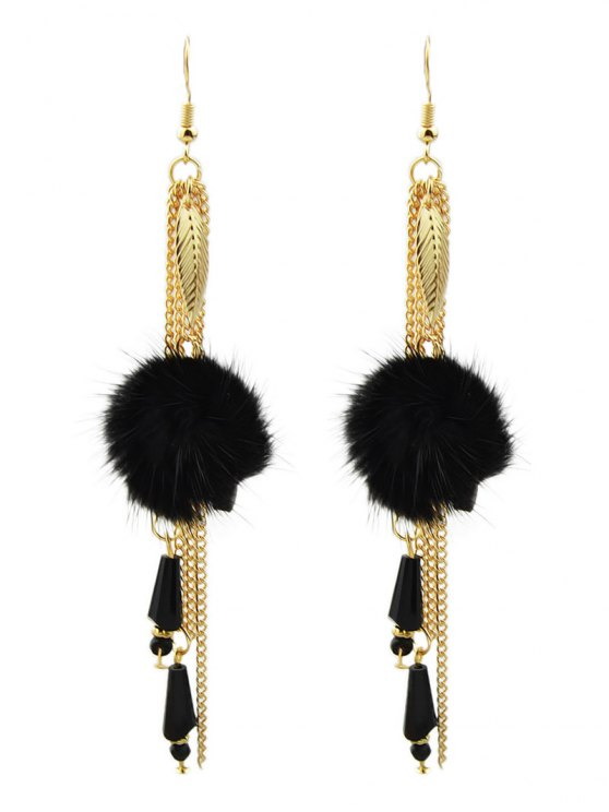 Fuzzy Ball Leaf Chain Earrings - BLACK  Mobile