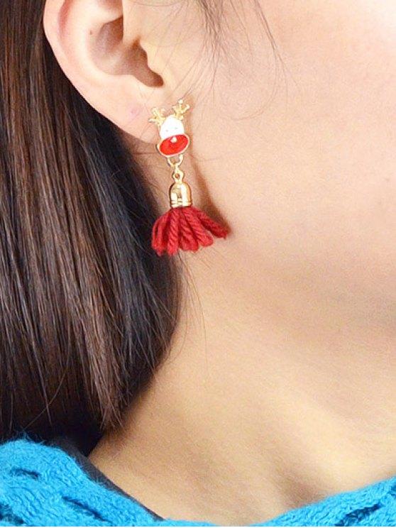 Christmas Tree Elk Tassel Asymmetric Earrings -   Mobile