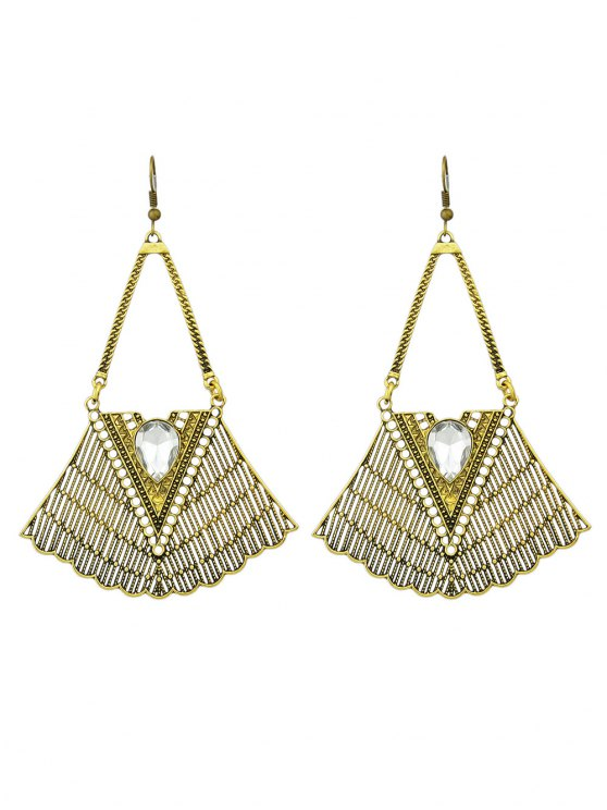 Faux Gemstone Geometric Vintage Drop Earrings - GOLDEN  Mobile
