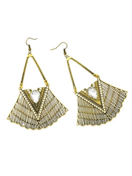Faux Gemstone Geometric Vintage Drop Earrings - GOLDEN  Mobile