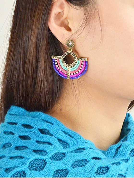Bohemian Circle Beads Drop Earrings - GOLDEN  Mobile