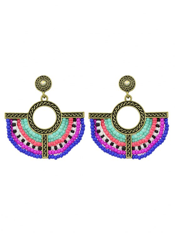 online Bohemian Circle Beads Drop Earrings - GOLDEN