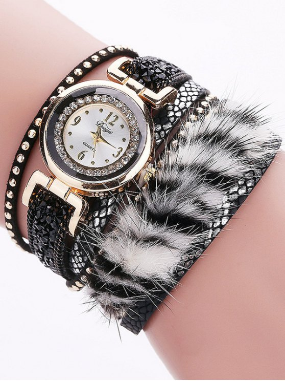 Layered Studded Faux Fur Bracelet Watch - BLACK  Mobile