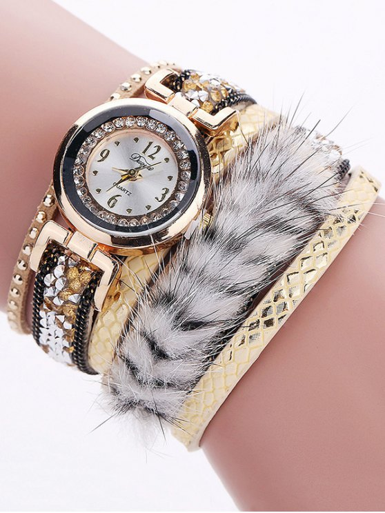 Layered Studded Faux Fur Bracelet Watch - YELLOW  Mobile