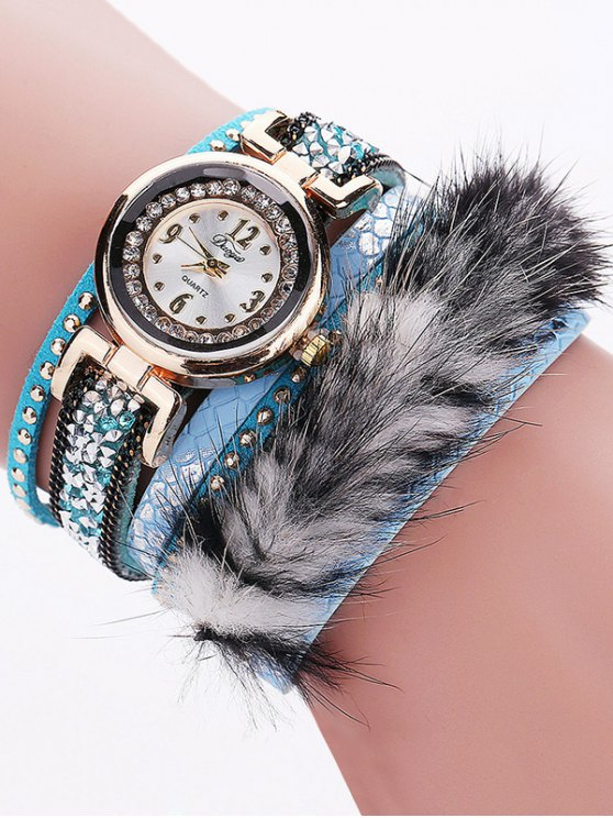 Layered Studded Faux Fur Bracelet Watch - AZURE  Mobile
