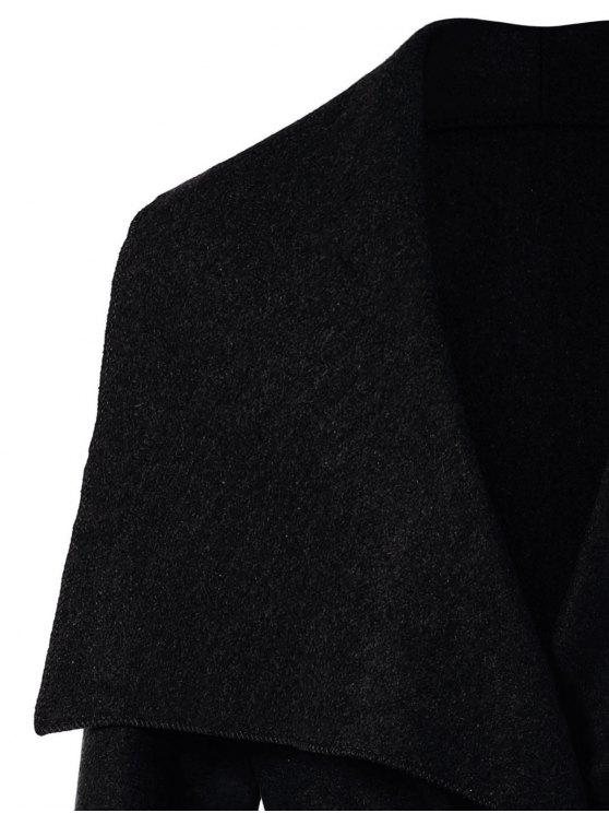 Tie Waist Shawl Collar Wrap Coat - BLACK XL Mobile