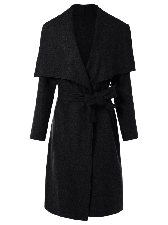 shops Tie Waist Shawl Collar Wrap Coat - BLACK S