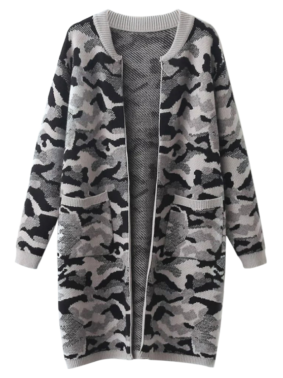 Camoflage Longline Cardigan - GRAY ONE SIZE Mobile