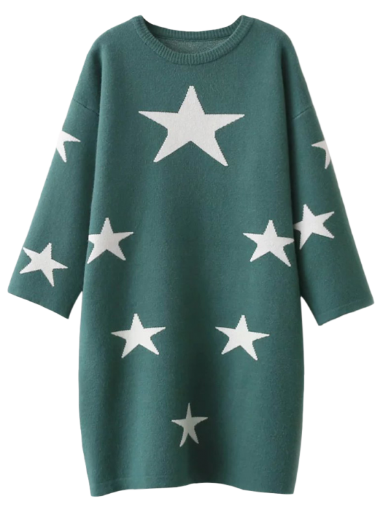Stars Jacquard Sweater Dress - GREEN ONE SIZE Mobile
