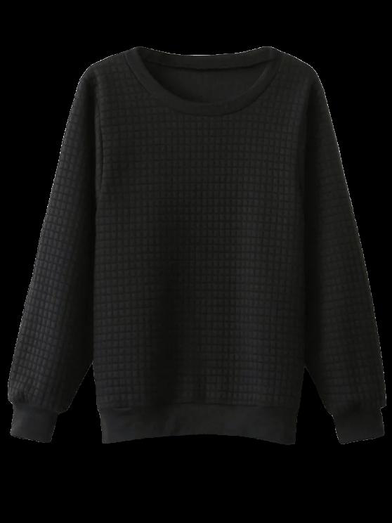 Sweat-shirt pailleté à carreaux à col rond - Noir TAILLE MOYENNE