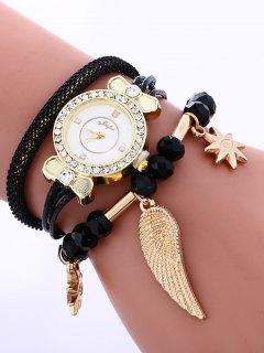 Layered Rhinestone Beaded Wing Bracelet Watch - Black