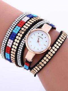 Layered Studded Bracelet Watch - Black