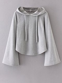 Slouchy Flare Sleeve Pullover Hoodie - Gray L
