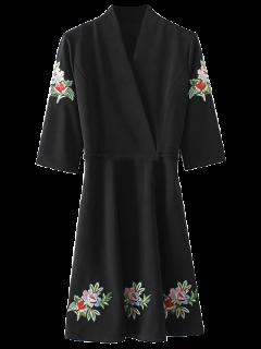 Back Tied Floral Embroidered Surplice Dress - Black L