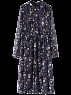 Printed High Collar Chiffon Flowing Dress - Purplish Blue L