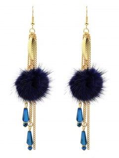 Fuzzy Ball Leaf Chain Earrings - Blue