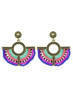 Bohemian Circle Beads Drop Earrings - Golden