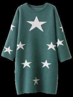 Stars Jacquard Sweater Dress - Green