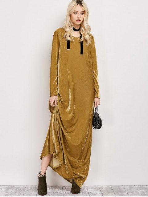 outfits Velvet Long Sleeve Maxi Dress - EARTHY M Mobile