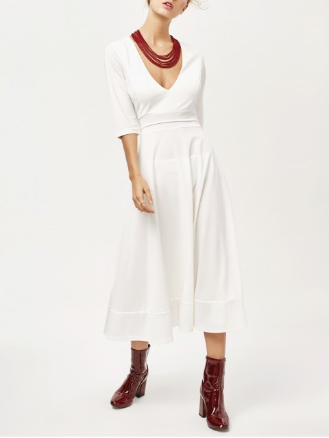 fancy Low Cut Tea Length A Line Dress - WHITE M Mobile